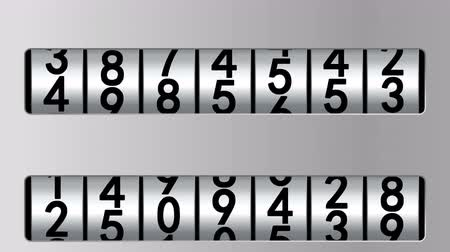 odometer : Counters in gray frames moving up, 3d animation, seamless loop.