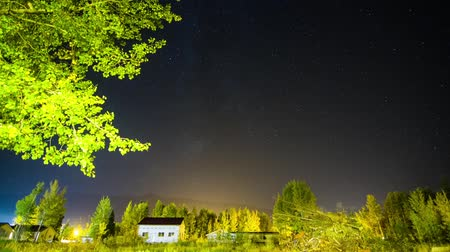 low lighting : Milky Way Timelapse background over village