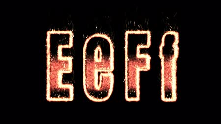 letter f : e f plasma text from fire isolated in black. render Stock Footage