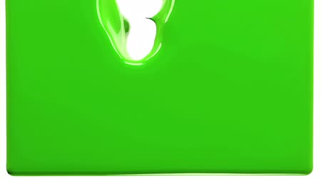 akış : green paint fills up screen, isolated on white FULL HD with alpha channel. 3d render Stok Video