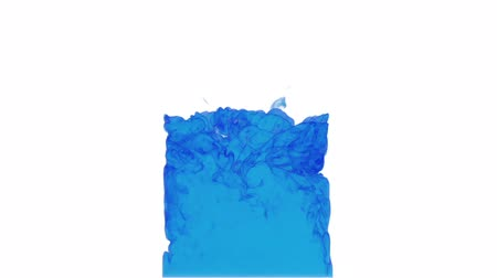 смешивание : computer graphics like blue ink spreading in the water on a white background. 3d render. voxel graphics. computer simulation 5