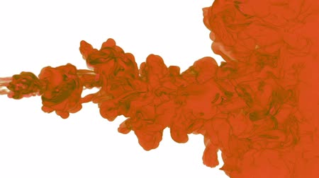 dissolução : orange paint dissolved in water on a white background. 3d render. voxel graphics. computer simulation 3