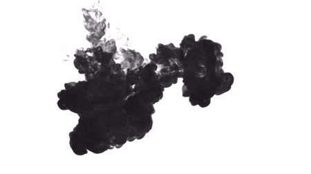 dissolução : black paint dissolved in water on a white background. 3d render. voxel graphics. computer simulation 4..