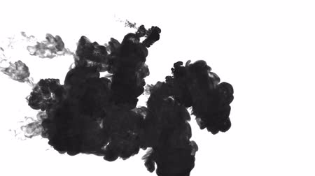 dissolução : black paint dissolved in water on a white background. 3d render. voxel graphics. computer simulation3.. Stock Footage