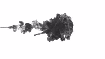 dissolução : black paint dissolved in water on a white background. 3d render. voxel graphics. computer simulation 4 Stock Footage
