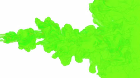 dissolução : green paint dissolved in water on a white background. 3d render. voxel graphics. computer simulation 1. full HD Stock Footage
