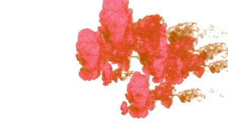 dissolução : red paint dissolved in water on a white background. 3d render. voxel graphics. computer simulation 8.. Stock Footage