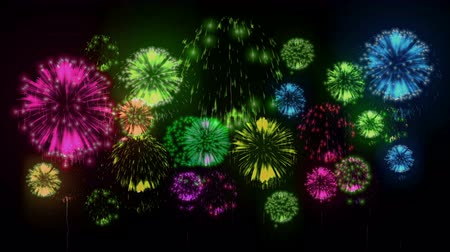четверть : 4K - fireworks. Holiday celebration, big fireworks at holiday night. Version 7.