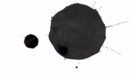 dab : black ink droplet falls on the white surface. 3d render liquid with very high detail and alpha mask for compositing. Ver 2 Stock Footage