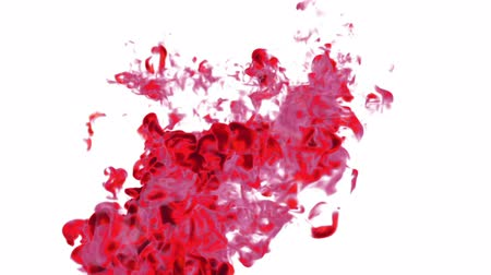 абсорбент : Close-up movement of red paint in water. Color drop in water ink swirling in water. Cloud of silky ink in water isolated on white background with alpha mask VFX. Version 20