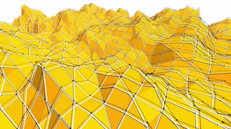 palpitação : Yellow low poly background oscillating. Abstract low poly surface as landscape or chemical structure in stylish low poly design. Polygonal mosaic background with vertex, spikes. Modern 3D design.