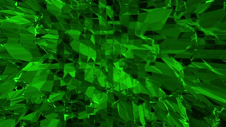 easily : Dark green low poly waving surface as element motion graphic. Dark green polygonal geometric vibrating environment or pulsating background in cartoon low poly popular modern stylish 3D design.