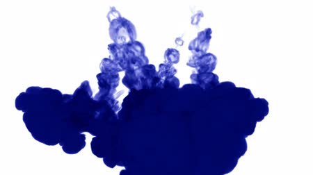 psychadelic background : A lot of flows of isolated blue ink injects. Blue gouache curls in water , shot in slow motion. Use for inky background or backdrop with smoke or ink effects, alpha channel is on use for it luma matte Stock Footage