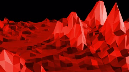 faceted : Abstract red low poly surface as math environment in stylish low poly design. Polygonal mosaic background with vertex, spikes. Red low poly background waving. Cartoon modern 3D design. Free space