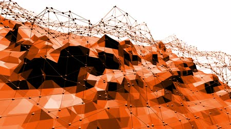palpitação : Polygonal digital mosaic vibrating environment or waving background in cartoon low poly popular modern 3D design. Orange low poly surface as chemical environment in stylish design.
