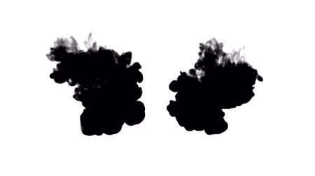 psychadelic background : black ink flows on white moving in slow motion, ink inject or blow smoke. Writing ink drop in water for Inky or smoky background or ink effects. Use luma matte like alpha mask or alpha channel Stock Footage