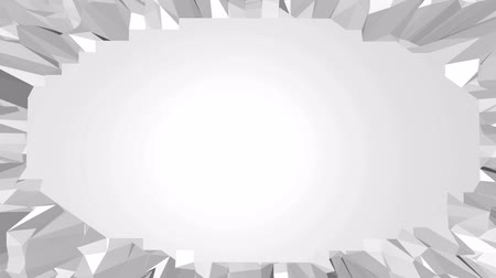 faceted : Abstract clean black and white low poly waving 3D surface as cybernetic field. Grey geometric vibrating environment or pulsating background in low poly popular stylish 3D design. Free space Stock Footage
