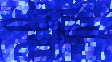 faceted : Blue low poly changing surface as lovely background. Blue polygonal geometric changing environment or pulsating background in cartoon low poly popular modern stylish 3D design.