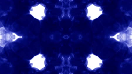 psychadelic background : Abstract background of ink or smoke flows is kaleidoscope or Rorschach inkblot. Isolated on white in slow motion. Blue color dissolves in water. For alpha channel use luma matte as alpha mask