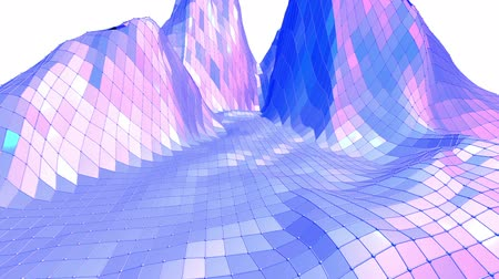 demonstrativní : Violet low poly waving surface as landscape or cyberspace. Violet geometric vibrating environment or pulsating background in cartoon low poly popular modern stylish 3D design. Free space