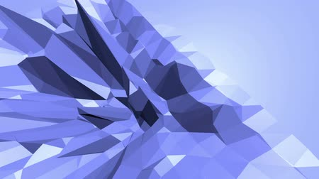 demonstrativní : Blue low poly wavering surface as element motion graphic. Blue polygonal geometric wavering environment or pulsating background in cartoon low poly popular modern stylish 3D design. Free space Dostupné videozáznamy