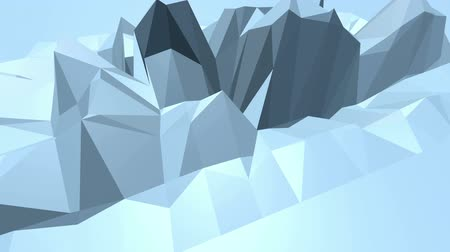 demonstrativní : Blue low poly shifting surface as transforming environment. Blue polygonal geometric shifting environment or pulsating background in cartoon low poly popular modern stylish 3D design. Free space
