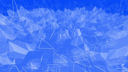 demonstrativní : Blue metalic low poly waving surface as dream background. Blue polygonal geometric vibrating environment or pulsating background in cartoon low poly popular modern stylish 3D design. Dostupné videozáznamy