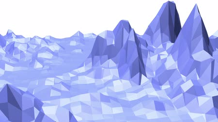 mesh : Blue low poly shining surface as surreal terrain. Blue polygonal geometric shining environment or pulsating background in cartoon low poly popular modern stylish 3D design.