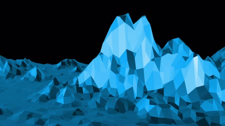 faceted : Blue low poly shining surface as futuristic background. Blue polygonal geometric shining environment or pulsating background in cartoon low poly popular modern stylish 3D design.