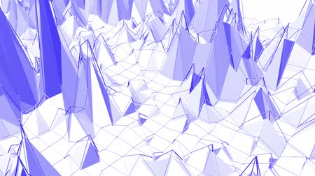 demonstrativní : Violet or purple low poly waving surface as fractal environment. Violet geometric vibrating environment or pulsating background in cartoon low poly popular modern stylish 3D design.
