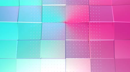 abridor : Abstract simple blue pink low poly 3D surface and flying white crystals as atom structure. Soft geometric low poly background of pure blue pink polygons. 4K Fullhd seamless loop background.