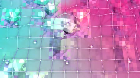 faceted : Low poly 3D surface with flying grid or mesh and moving spheres as popular environment. Soft geometric low poly background of pure blue pink red polygons. 4K Fullhd seamless loop background Stock Footage