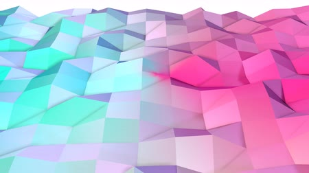 tekrarlama : Abstract simple blue pink low poly 3D surface as lovely background. Soft geometric low poly motion background of shifting pure blue pink polygons. 4K Fullhd seamless loop background
