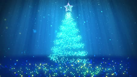 subir : Winter theme for Christmas or New Year background with copy space. Close-Up of Xmas tree from particles in mid-frame. Blue 3d Xmas tree V2 with glitter particles DOF light rays