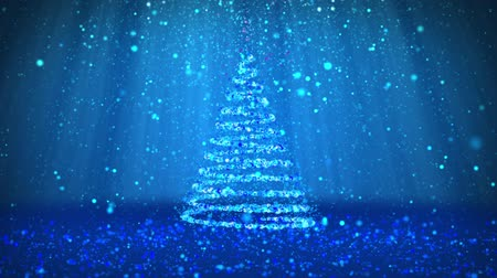 subir : Winter theme for Christmas or New Year background with copy space. Close-Up of Xmas tree from particles in mid-frame. Blue 3d Xmas tree V6 with glitter particles DOF light rays rotating space