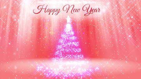pré natal : light composition for New Year background with 3d Christmas tree from glitter particles and sparkles. With rays such as aurora borealis and snowfall on pink background. V3