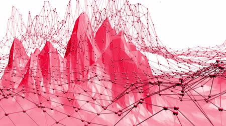 palpitação : Rosy or pink low poly oscillating surface as atom structure. Red polygonal geometric vibrating environment or pulsating background in cartoon low poly popular modern stylish 3D design.