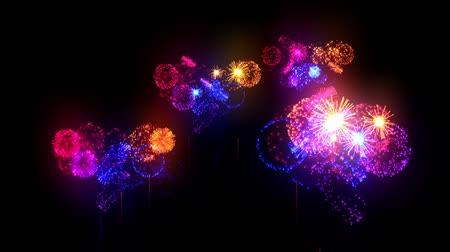 arife : Multi colored fireworks as holiday background for New Year, Christmas other celebration. Red blue orange firecrackers show are isolated on black for compositing. 3d animation pyrotechnic light show.20 Stok Video