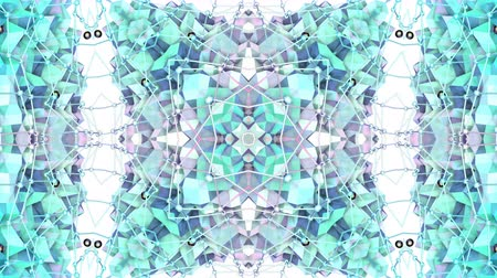 faceted : Abstract simple 3D background in blue turquoise gradient color, low poly style as modern geometric background or mathematical environment with kaleidoscopic effect. 4K UHD or FullHD seamless loop