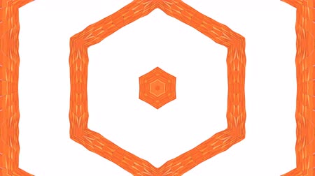 demonstrativní : looped animation of 3d geometry, geometric forms and shapes are transformed. Orange composition in low poly style kaleidoscope effect. Motion graphics background for vj shows. 4k seamless footage .16