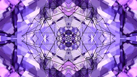 deformação : blue violet low poly geometric abstract background as a moving stained glass or kaleidoscope effect in 4k. Loop 3d animation, seamless footage in popular low poly style. V8