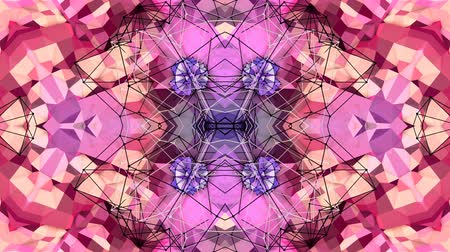 faceted : purple low poly geometric abstract background as a moving stained glass or kaleidoscope effect in 4k. Loop 3d animation, seamless footage in popular low poly style. V30 Stock Footage