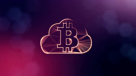 distorção : Sign of bitcoin logo inside the cloud. Financial background made of glow particles as vitrtual hologram. Shiny 3D loop animation with depth of field, bokeh and copy space.Violet background 1.