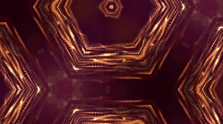 luxo : abstract background of particles with DOF, bokeh. beautiful loop background for your text, advertising or rewarding. 3d animation as a scientific BG, microcosm or virtual space. Golden pattern v17 Stock Footage