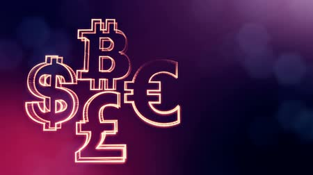 distorção : symbol bitcoin dollar euro pound.. Financial background made of glow particles as vitrtual hologram. 3D seamless animation with depth of field, bokeh and copy space. Purple color v1 Stock Footage
