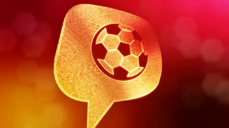 distorção : icon of soccer ball in message cloud. Background made of glow particles as vitrtual hologram. 3D seamless animation with depth of field, bokeh and copy space. Red color V1.