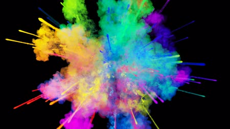 puder : explosion of powder isolated on black background. 3d animation of particles as colorful background or overlays effects. Burst of rainbow colors powder for bright presentation like holi festival. 39 Wideo