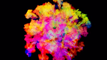 explodir : firework of paint, explosion of colorful powder isolated on black background. 3d animation as a colorful abstract background. Rainbow colors 20