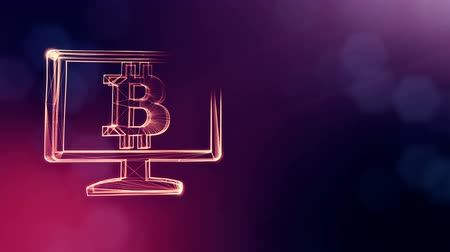 distorção : bitcoin logo inside the monitor. Financial background made of glow particles as vitrtual hologram. Shiny 3D loop animation with depth of field, bokeh and copy space. Violet color v2 Stock Footage