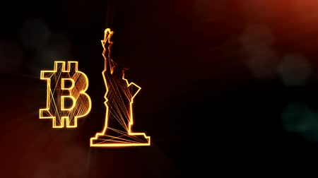 distorção : Bitcoin logo and a statue of freedom. Financial background made of glow particles as vitrtual hologram. Shiny 3D loop animation with depth of field, bokeh and copy space. Dark background v2 Stock Footage